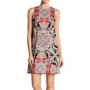 London Times Sleeveless Paisley Print Shift Dress